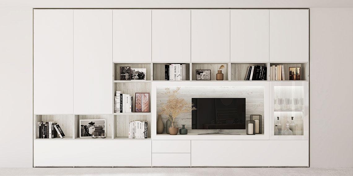 Librería lacada en blanco con laminado blanco rústico