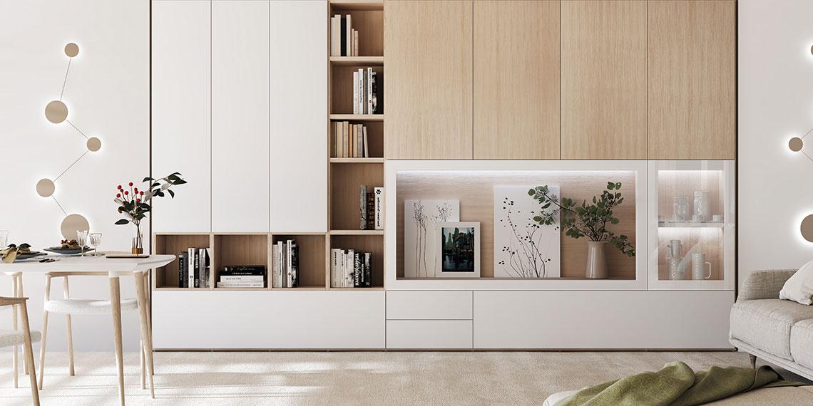Librería chapa madera natural roble y lacada en blanco